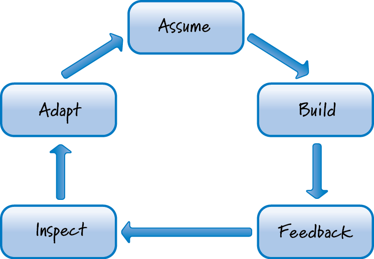 Scrum leverages learning loops that circulate from assumption, to build, to feedback, to inspect, and adapt.